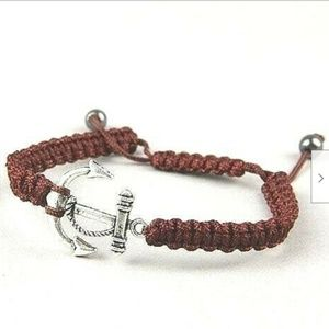 """Jewelry - Silver Anchor Rope Bracelet 6-9"""" Brown Shamballa"""